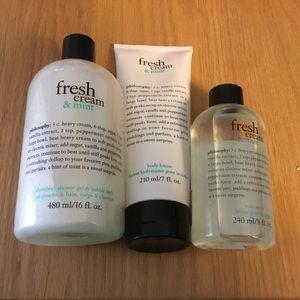 Philosophy fresh mint bath and body trilogy